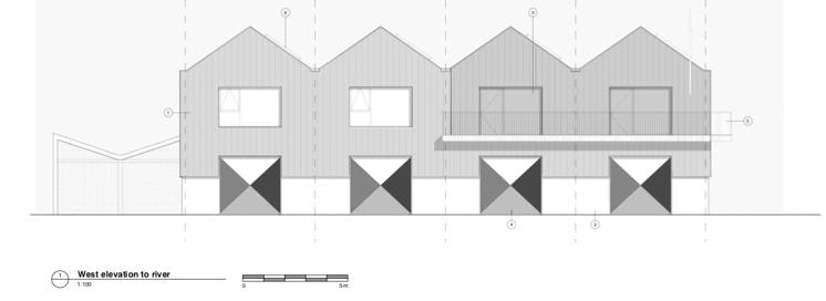 Clubhouse150 west elevation to river